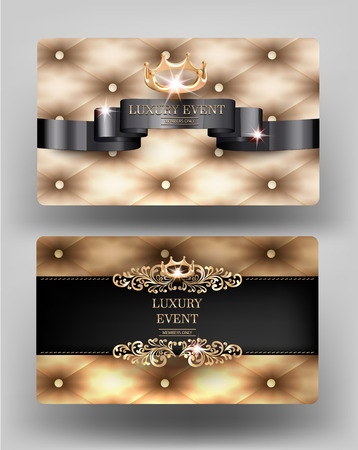 Luxury event elegant vintage cards with gold leather on the background. Vector illustration