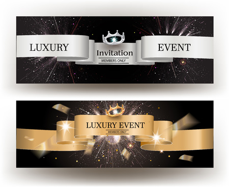 Luxury event invitation card with gold and silver ribbons. Vector illustration