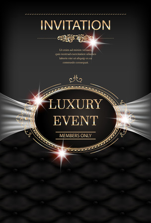 Luxury event invitation card with vintage frame, leather background and floral design elements. Vector illustration