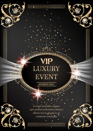 Luxury event invitation gold card with vintage frame and floral design elements. Vector illustration