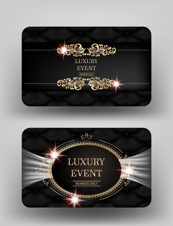 Luxury event invitation gold cards with leather background and vintage frames. Vector illustration Illustration