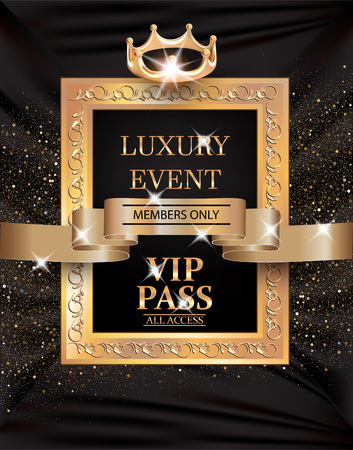 Luxury event VIP PASS with vintage frame, gold ribbon and fabric background. Vector illustration