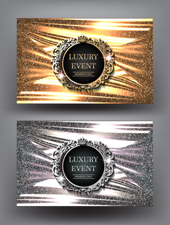 Luxury night party gold and silver invitation cards with vintage frames and sparkling folded fabric background. Vector illustration Illustration