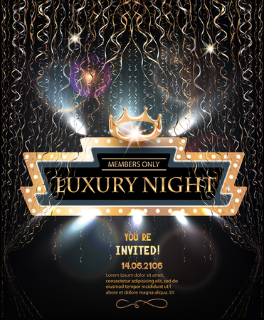 Luxury night party invitation card with retro frame, gold serpentine and crown. Vector illustration