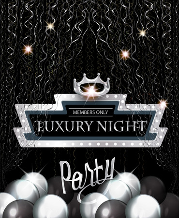 Luxury night party invitation card with retro frame, silver serpentine, air balloons and crown. Vector illustration