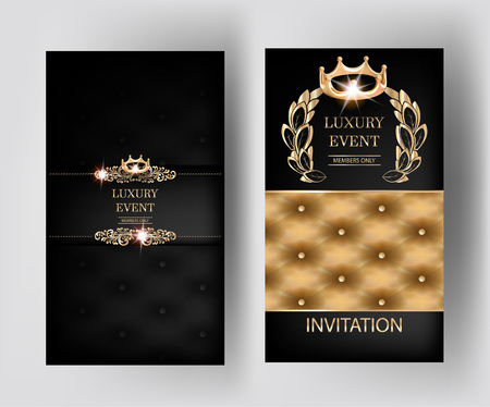 Luxury vertical elegant vintage banners with leather texture and floral design elements. Vector illustration
