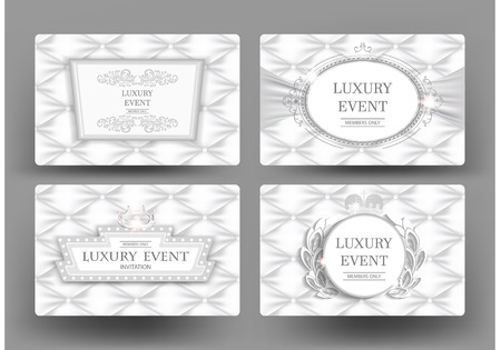Luxury white elegant vintage cards with leather texture. Vector illustration