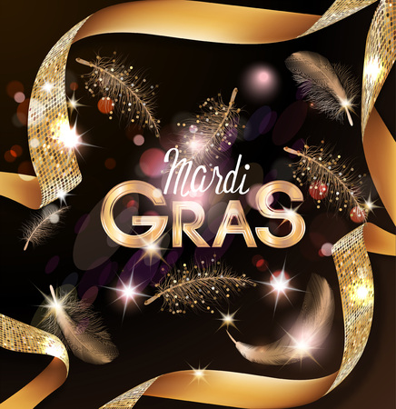 Mardi Gras background with flying feathers and curly gold ribbons. Vector illustration