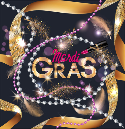 Mardi Gras background with flying feathers, pink lipstick and curly gold ribbons. Vector illustration