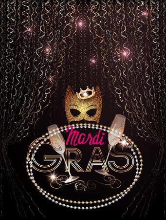 Mardi Gras background with gold mask, beads and curly gold and silver serpentine. Vector illustration Illustration