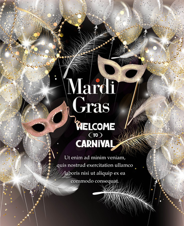 Mardi Gras background. Falling feathers, beads, ribbon and carnival masks. Vector illustration Ilustração
