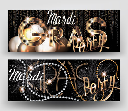 Mardi Gras party banners with beads, fireworks, serpentine. Vector illustration Illustration