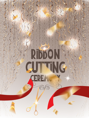 Ribbon cutting ceremony elegant invitation card with red cut ribbon, scissors, gold curtains and confetti. Vector illustration
