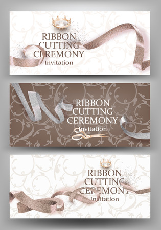 Set of grand opening banners with beige curly sparkling ribbons and floral design background. Vector illustration