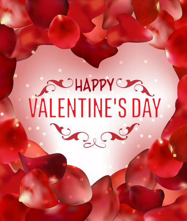Valentines Day greeting card with red rose petals. Vector illustration