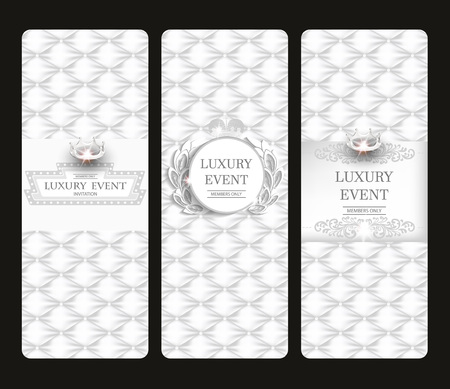 Vintage white elegant vertical cards with leather texture. Vector illustration