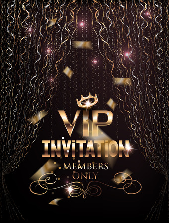 VIP elegant invitation card with gold curtains and confetti. Vector illustration