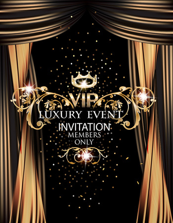VIP elegant luxury event invitation card with gold theater curtains. Vector illustration Illustration