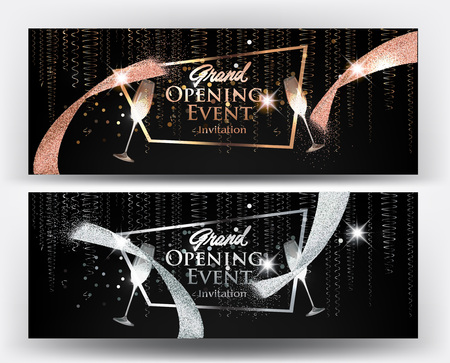 VIP gold and silver banners with serpentine, cut ribbon and glasses of champagne. Vector illustration