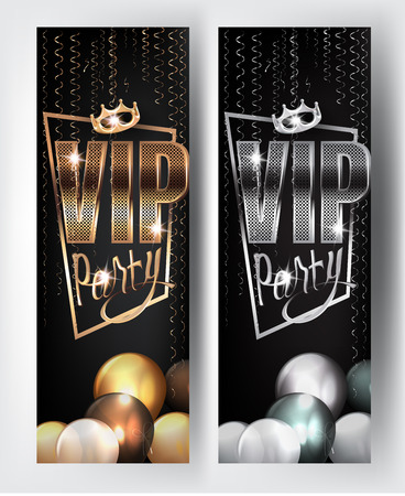 VIP gold and silver party banners with serpentine and crown. Vector illustration