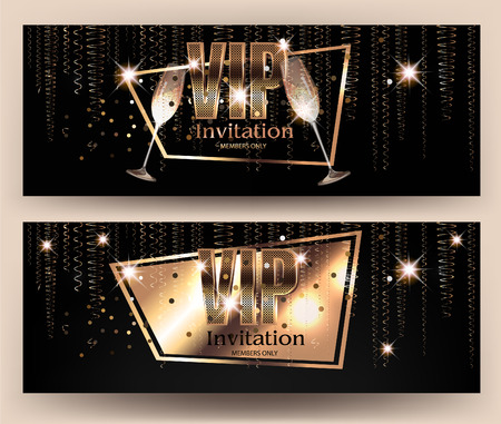 VIP gold banners with serpentine  and glasses of champagne. Vector illustration