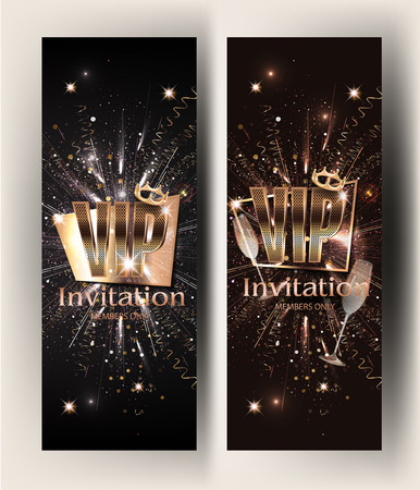 VIP gold vertical banners with serpentine  and glasses of champagne. Vector illustration Illustration