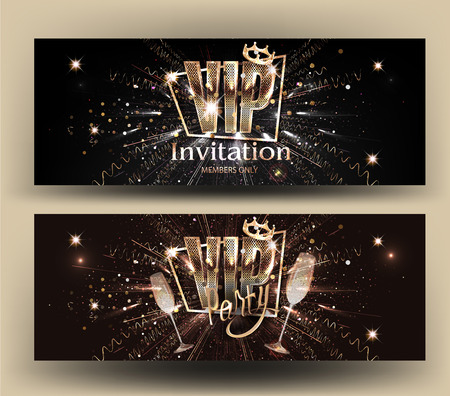 VIP invitation card with gold letters, frame, glasses of champagne and crown. Vector illustration