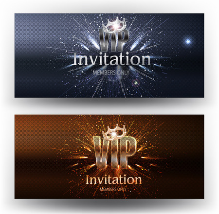 VIP invitation gold and silver banners with fireworks and crowns. Vector illustration Illustration