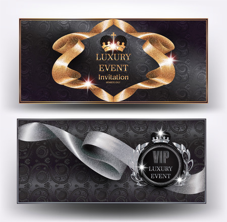 VIP luxury event elegant banners with silk curled ribbons and floral design background. Vector illustration