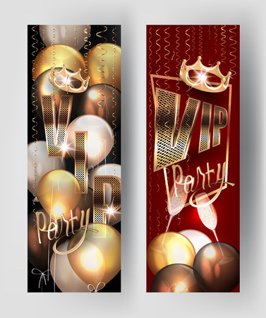 VIP party invitation banners with gold curly serpentine, air balloons and crown. Vector illustration