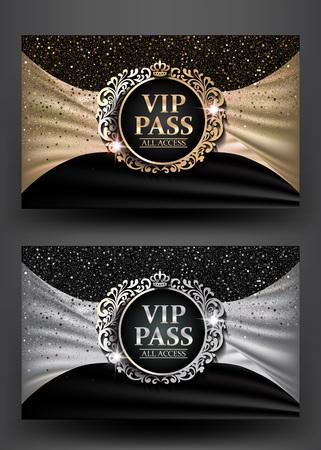 invitacion fiesta: VIP PASS con marco de época y fondo de tela. Ilustración del vector Vectores