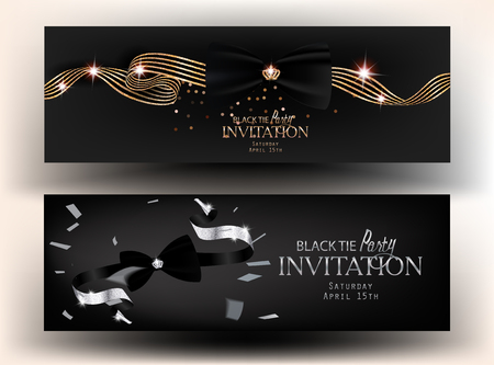 Black tie party invitation cards. Vector illustration