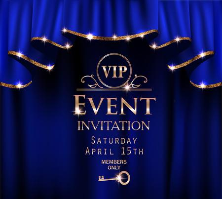 Carte d'invitation d'événement VIP bleu avec des rideaux rouges avec jante brillante d'or. Illustration vectorielle