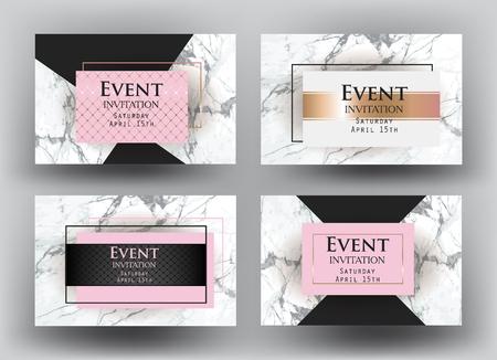 Cartes d'invitation élégant événement avec marbre. Illustration vectorielle Banque d'images - 76559522