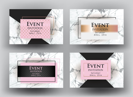 Elegant Event invitation cards with marble. Vector illustration