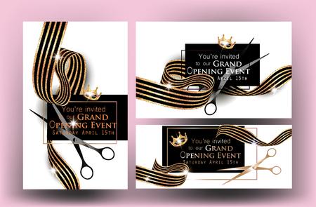 Elegante Einladungskarten der festlichen Eröffnung mit Marmorhintergrund und gestreiften Goldbändern. Vektor-Illustration Standard-Bild - 76555242