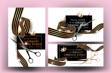 Elegant grand opening invitation cards with marble background and striped gold ribbons. Vector illustration