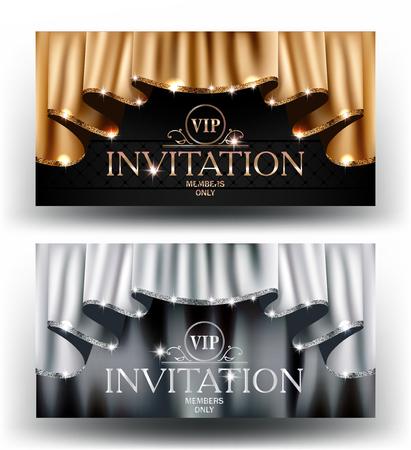 스파클링 테두리와 커튼을 금색과 은색 VIP 초대 카드. 벡터 일러스트 레이 션