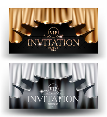 Gold and silver VIP invitation cards with curtains with sparkling rim. Vector illustration Vettoriali