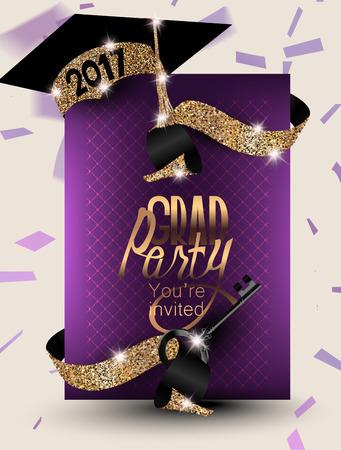 2017 Afstudeerbanner met confetti, linten, symbolische sleutel en mousserende partijhoed. Vector illustratie