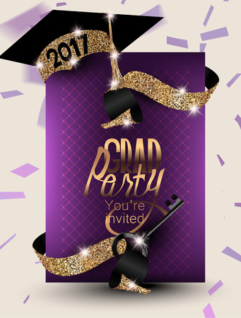 2017 Graduation banner with confetti, ribbons, symbolic key and sparkling party hat. Vector illustration Illusztráció
