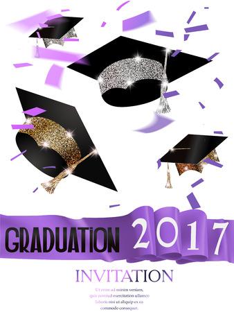 2017 graduation invitation card with purple ribbon and hats. Vector illustration