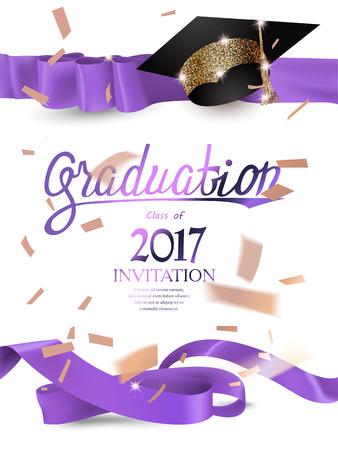2017 afstudeeruitnodigingskaart met met paarse krullende linten, mousserende hoed en confetti. Vector illustratie
