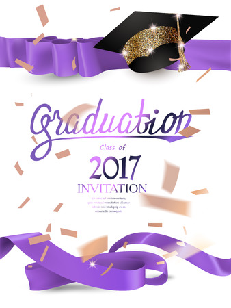 2017 graduation invitation card with with purple curly ribbons, sparkling hat and confetti. Vector illustration