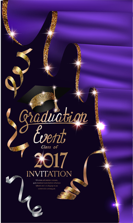 Graduation event invitation card with purple curtains with gold shiny edge and serpentine. Vector illustration