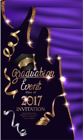 Uitnodigingskaart voor afstudeeruitnodiging met paarse gordijnen met gouden glanzende rand en serpentine. Vector illustratie