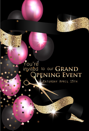 Grand opening background with air balloons, ribbon and scissors. Vector illustration