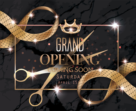 Grand opening banner with sparkling curly ribbons with pattern, scissors and marble background. Vector illustration