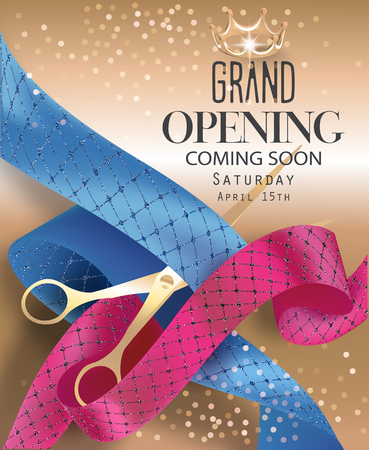 Grand opening banner with sparkling curly ribbons, scissors and gold background. Vector illustration