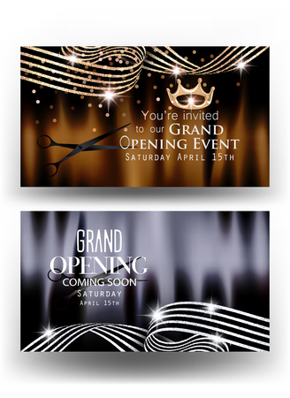 Grand opening banners with sparkling curly striped ribbons and scissors. Vector illustration